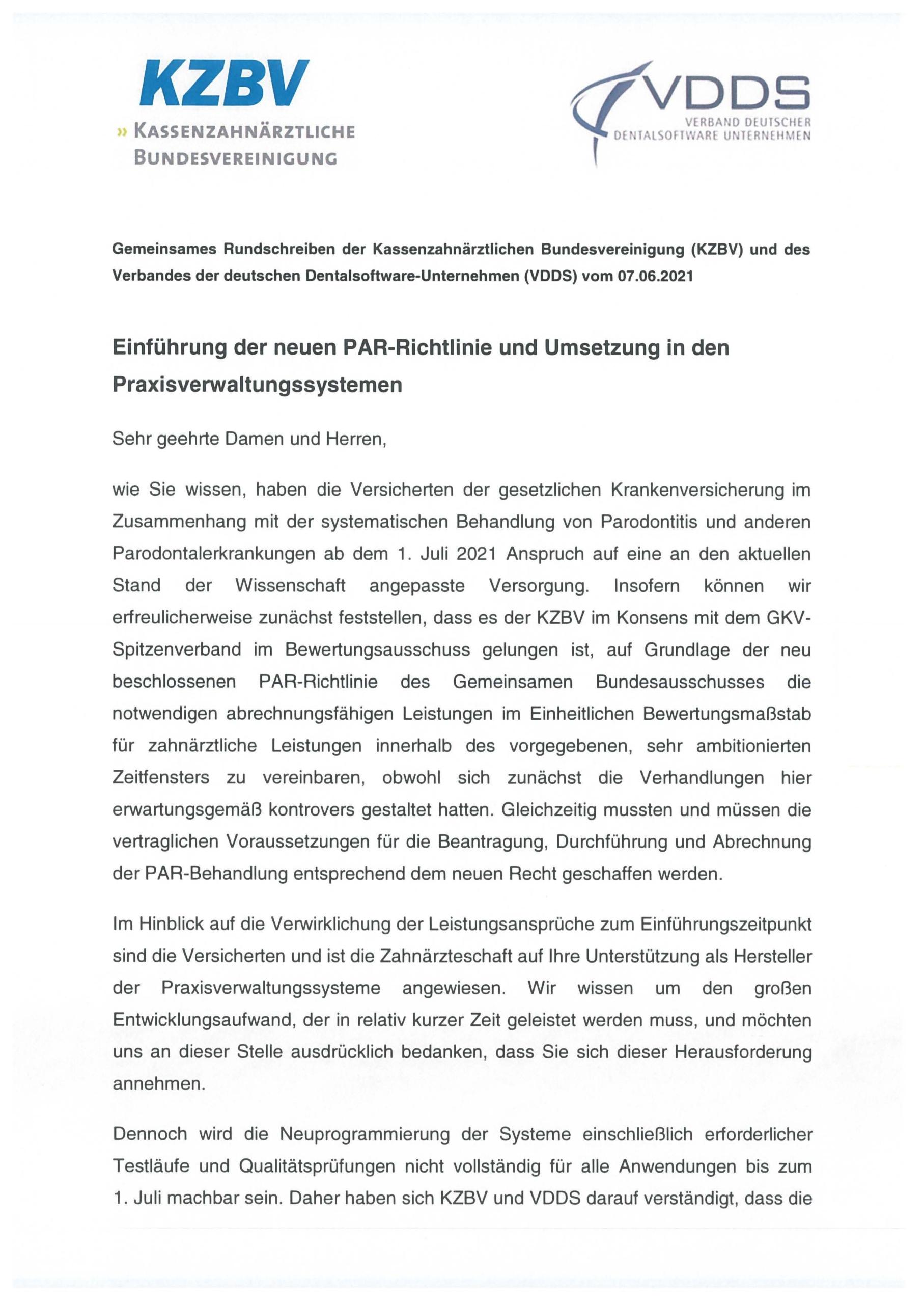 Gemeinsame Pressemitteilung der Kassenzahnärztlichen Bundesvereinigung (KZBV) und des Verbandes der deutschen Dentalsoftware-Unternehmen (VDDS) vom 07.06.2021